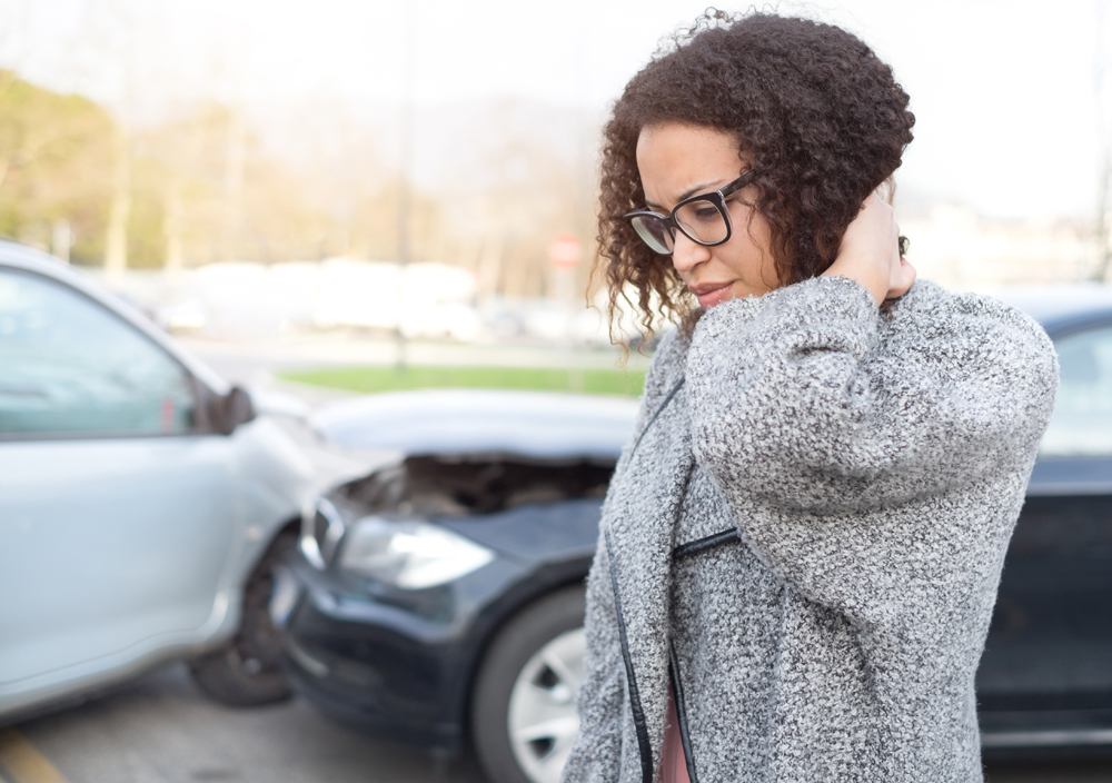 Woman who got into an auto accident